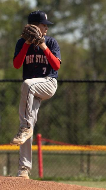 boy pitching in baseball uniform